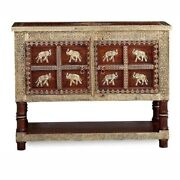 Embossed Antique Brass Indigo Cabinet Solid Wood Brass Fitted Ethnic Furniture