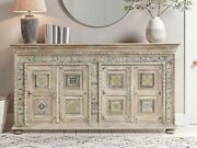 Made To Order Brass Work Indian Wooden Buffet Sideboard Decorated Brass Natural