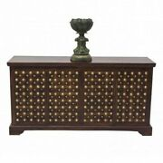 Made To Order Mogra Brass Work Indian Antique Style Walnut Sideboard Buffet