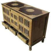 Made To Order Brass Work Indian Solid Wood 3 Drawer Buffet Sideboard 115x50x80