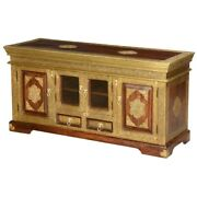 Made To Order Brass Work Indian Solid Wood Buffet Sideboard With Glass Door