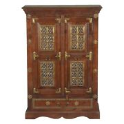 Brass Work Iron And Brass Mango Wood Freestanding Cabinet Made To Order