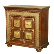 Brass Work Indian Solid Wood And Brass Accent Storage Cabinet Made To Order