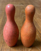 Vintage Wooden Miniature Bowling Toy 2 Pins Antique Collectable Retro Red Orange
