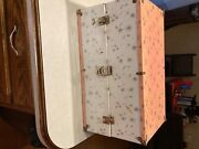 Vintage Barbie Doll Case. Pink And White Metal Doll Trunk