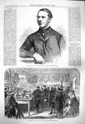 Old Antique Print 1865 Massey Finance Minister India Wales London 19th