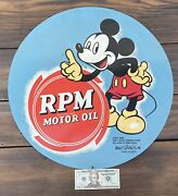 Antique Vintage 1930s Original Mickey Mouse Rpm Motor Oil Tin Sign