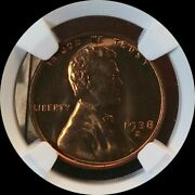 1938-s Usa Lincoln Wheat Cent Penny Ngc Ms65rd A++ Luster Nice