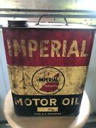 Vintage Metal Imperial Motor Oil Can Empty 2 Gallon Drip Lip Spout