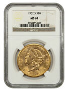 1902-s 20 Ngc Ms62 - Liberty Double Eagle - Gold Coin