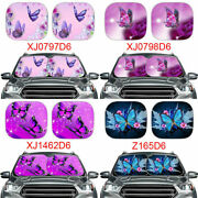 2pc Car Auto Windshield Protector Butterfly Design Front Window Sun Shade Visor