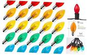 Replacement Light Bulbs Transparent Blubs For C7 Christmas 25 Pack Multicolor