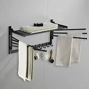 Wall Mounted Laundry Clothes Drying Rack Foldable Swivel Black 7rods 15.8