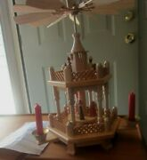 Vintage Erzgebirge 2 Tier Candle Pyramid Nativity Wood Carousel - From Germany