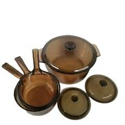 Vintage Corning Pyrex Amber Vision Ware Glass Cookware 7 Pc Set Pots And Pans 4.5l