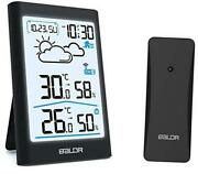 Weather Station Wireless Digital Indoor Outdoor Thermometer Hygrometer Black