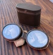 Antique Vintage Pocket Wwi Wwii Era Motorcycle / Pilot Goggles In Tin