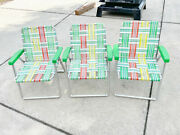 3 Vintage Childs Aluminum Strap Webbed Lawn Outdoor Chair