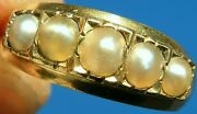 Best Ever Antique Victorian Solid 18ct Gold 5 Stone Pearl Ring Band039ham 1871 💜3.4g