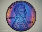 1943-d Steel Wheat Cent Rainbow Toned Monster Us Penny Bu Brilliant Uncirculated