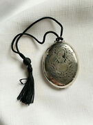 Rare Fitch Vanity Compact 1926 Goddess Peacocks Tassle Complete, Silver Tone