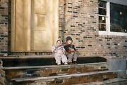 35mm Slide 1950s Red Border Kodachrome Kids Sitting On Stairs Of New Built House