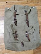 Vintage Swiss Army Military Backpack Rucksack Canvas Salt And Pepper 1957 Mountain