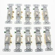 10 Hubbell Residential Lt Almond Single Pole Toggle Light Switches 15a Rs115la