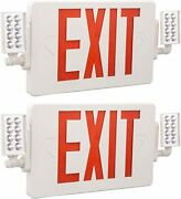 Exitlux 2 Pack Red Exit Sign Emergency Light Combo With Battery Backup And Adjus