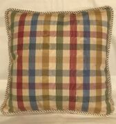 French Country Cottage Pillow Cushion Plaid Check Blue Gold Green Red Farm Fresh