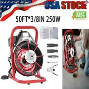 50ft 3/8 Commercial Electric Drain Auger Drain Cleaner Machine Tool Snake Sewer