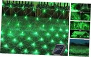 Solar Net Christmas Lights Outdoor 200 Led 9.8ft X 6.6ft With 8 Modes Green