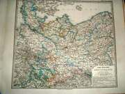 Original Old Antique Print North Germany Stielers Hand Atlas 1876 Maps 19th