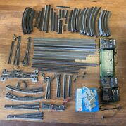 Large Lot Ho Scale Tracks On Wood Base, Switches, Switch Box And Controllers