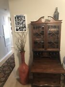 Antique Drop Leaf Secretary Desk And Hutch With 3 Drawers