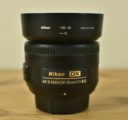 Nikon Dx Nikkor Af-s 35mm 11.8g Prime Lens With Front And Rear Caps Hood And Pouch