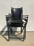 Set Of 4 Antique Wrought Iron Chairs With Leather Seat And Hand Rest