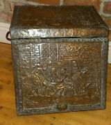 Large Worn Antique Brass Covered Wood - Pub Tavern Coal Log Box - On Casters