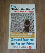 1967 Coca Cola Cardboard Baseball Players Bottle Cap Counter Top Sign Stand