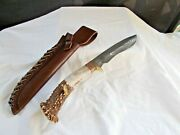Mint Custom Made By Caribou Creek Knives Huge Damascus Stag Bowie Knife W/sheath