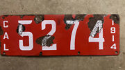 1914 California License Plate 5274 Porcelain White On Red First Year Low Number