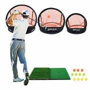 Relilac 3 Piece Golf Chipping Net With Dual Turf Hitting Mat And 12 Foam Trai...