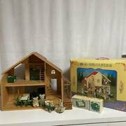 Initial Large House With Red Roof Original Box Doll Furnished Summary Set Mouse