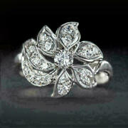 1.11 Ct Round Diamond 14k White Gold Beautiful Floral Engagement And Wedding Ring