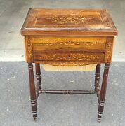 Antique English Regency Inlaid Rosewood 19th Century Sewing Work Table C1890 As