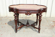 Exceptional Large Walnut Victorian Picture Frame Marble Top Library Center Table