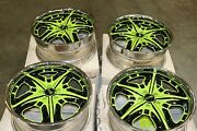 For Foose Knight Light Green With Chrome Lip 2-pc 19 X 8.5 +45 5x112 Wheels