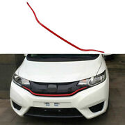 Fit For Honda Fit Jazz 2014-2017 Red Front Bumper Center Hood Grill Strip 1pcs