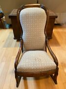 Antique Victorian Upholstered Cushioned Nursing Rocking Chair Oak