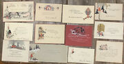 12 Vintage 1 Sided Heavy Stock - Red White Gold Black Christmas Greeting Cards